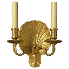 """COQUILLE"" Motif gilded Bronze two light sconce"