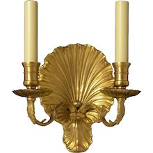 """""""COQUILLE"""" Motif gilded Bronze two light sconce"""