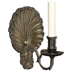 """COQUILLE"" Motif silvered bronze one light sconce"