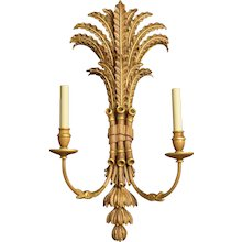 """""""PALM and BAMBOO"""" Motif two light sconce with gilt accents"""