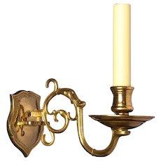 Shield back gilded bronze one light sconce