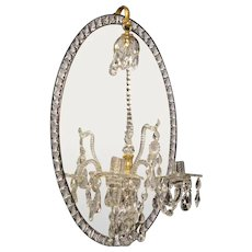 IRISH Style two light crystal and mirrored back sconce