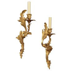LOUIS XV style gilded bronze left and right one light sconce