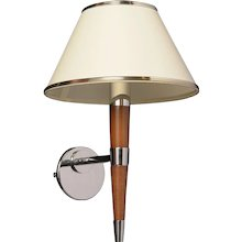 Mahogany and polished nickel one light sconce with shade