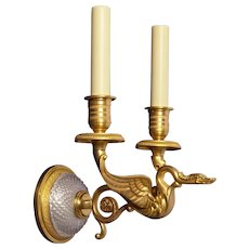 """CYGNET"" Motif gilded bronze and cut crystal back two light sconce"