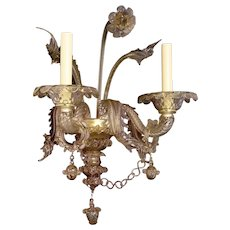 LOUIS XVI Style giltwood and gesso two light sconce