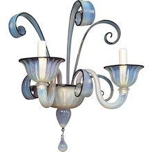 VENETIAN Style opaline with black trim two light glass sconce