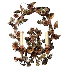 PIEDMONTESE Style polychromed iron two light sconce