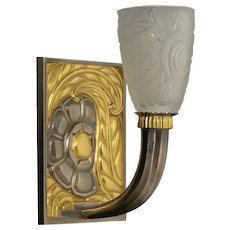 ART DECO Style silvered and gilded bronze & molded glass one light sconce