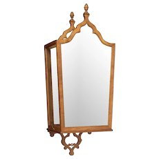 Cherrywood, antique mirror and glass sconce