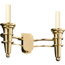 """""""DELANO"""" Art Deco style polished brass two light sconce"""
