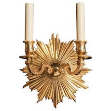 """ETOILE"" L. XVI style gilded bronze two light sconce"