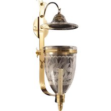 """""""GALE"""" Hand etched crystal and polished brass one light hurricane sconce with smoke bell"""