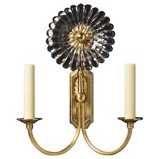 """""""GERBER"""" Gilt bronze and cut crystal two light sconce with ribbed arms"""