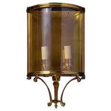 GEORGIAN Style gilded bronze two light wall lantern