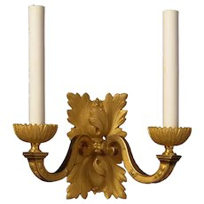 LOUIS XVI Style gilded bronze square leafy back two light sconce