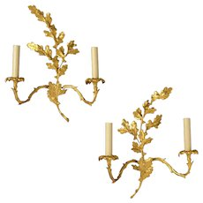 "LOUIS XV Style gilded bronze ""OAK LEAVES & ACORN"" Motif two light sconce"