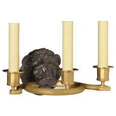"EMPIRE Style black & gilded bronze ""LION & SERPENT"" Motif three light sconce"