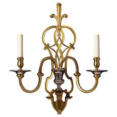 ADAM Style gilt and nickeled bronze two light sconce