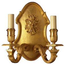 REGENCE Style gilded bronze two light sconce with mask