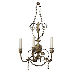 ADAM Style washed iron three light sconce