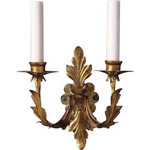 Gilded iron two light leafy back sconce
