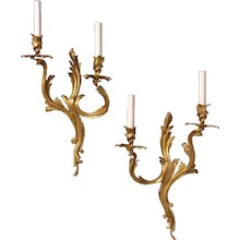 """""""VERSAILLES"""" gilded bronze two light sconce, left and right facing"""