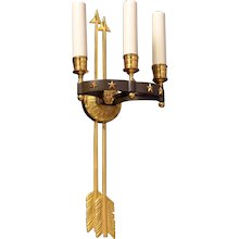 EMPIRE Style black and gilded bronze three light sconce with arrows