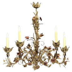 Polychromed iron six light Floral chandelier