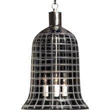 """PLAID"" crystal bell shaped three light lantern jar."