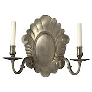 DUTCH Style pewter finished bronze two light sconce