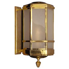 ART DECO Style brass wall lantern with glass panels