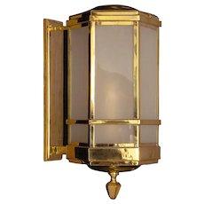 ART DECO Style brass wall lantern with glass panels