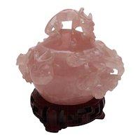 Rose Quartz Chinese Box with Lid