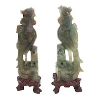 Pair of Hardstone Birds