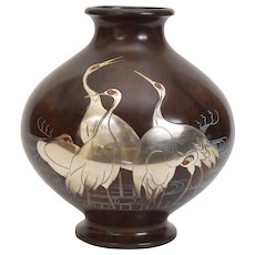 Japanese Bronze with Silver Cranes