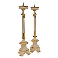 Italian Creme & Gilt Wood Candle Holders