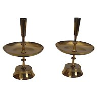 Pair of Tommi Parzinger Brass Candle Holders