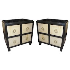 Pair of Black Lacquer and Parchment Chests or Nightstands
