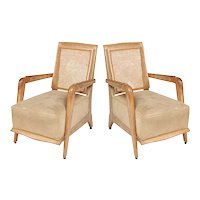 Unusual Cerused Oak Armchairs