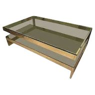 Cantilevered, Two-Tiered Brass Coffee Table