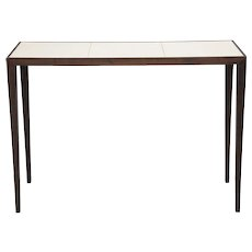 Parchment Top Mahogany Console Table