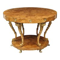 Neoclassical Center Table in Burl Walnut