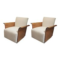 Sculptural Pair of Tiger Maple Armchairs With Splayed Arms