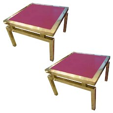 Pair of 1970's Brass End Tables with Red Glass Tops
