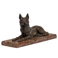 Recumbent Dog on Marble Base