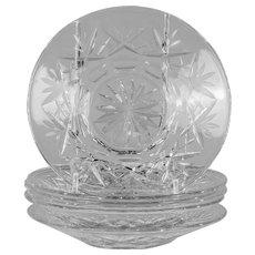 Set of 6 cut glass dishes
