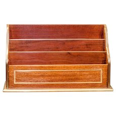 Mahogany letter rack with brass rim