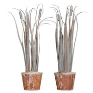 Pair of zinc bullrushes.