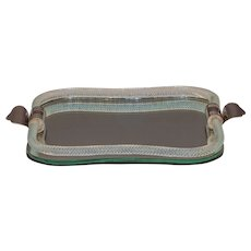 Mirrored tray with glass roped gallery and metal handles.
